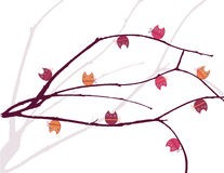 Owls tree. Cute owls on a tree brunch vector illustration