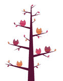 Owls tree. Cute owls sitting on a tree stock illustration