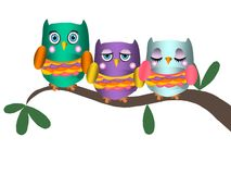 Owls on tree branch. 3 owls sitting on a branch stock illustration