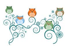 Owls on Tree Branches. Colorful Owls on Tree Branches White Background Drawings royalty free illustration