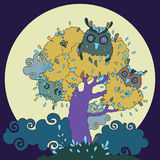 Owls in tree. Funny cartoon illustration. Royalty Free Stock Photography
