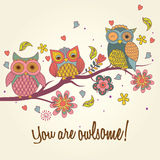 Owls on tree illustration Royalty Free Stock Photography