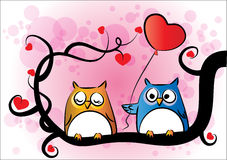Owls on the tree. Vector cartoon drawing owls on the tree Royalty Free Stock Photos