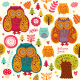 Owls and trees Royalty Free Stock Photos
