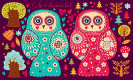 Owls and trees Royalty Free Stock Photo