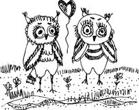 Owls, trees, grass Black contour on a white background.  Royalty Free Stock Image
