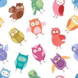 Owls vector cartoon cute bird set cartoon owlet character kids animal baby art for children owlish collection seamless Stock Images