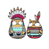 Owls. Vector Illustration. Funny american indian owls Stock Photography
