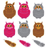 Owls vector pink brown gray plumage Stock Images