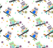 Owls vector seamless pattern.. Stock Photography
