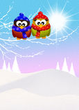 Owls in winter Royalty Free Stock Image