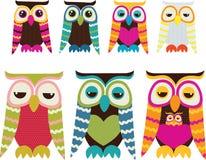 owlset royaltyfri illustrationer
