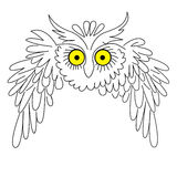 owlsilhouettevektor Arkivfoton