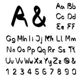 Own black font alphabet - simple letters and numbers, ampersand and at-sign symbol Stock Image