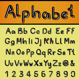Own black font alphabet - simple letters and numbers, ampersand and at-sign symbol. Illustration Royalty Free Stock Photo