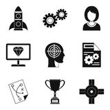 Own business icons set, simple style. Own business icons set. Simple set of 9 own business vector icons for web isolated on white background Royalty Free Stock Image
