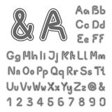 Own font alphabet - simple letters and numbers, ampersand and at-sign symbol. Illustration royalty free illustration