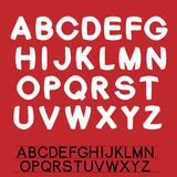 Own font alphabet - simple white letters on the red background Stock Photography