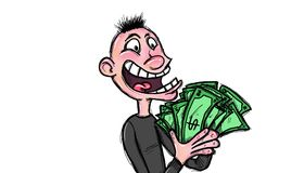 Own a lot of money. Man happily holding a lot of money in his hands, white background Stock Photos