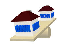 Own or Rent on balance scale concept V2 Stock Photo