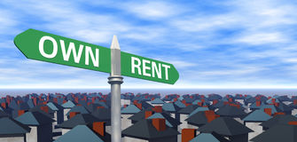 Own or Rent Sign with Houses. 3D rendered own or rent sign concept with houses and lots of space for your text and image royalty free illustration