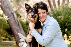 Owner and dog Royalty Free Stock Photo