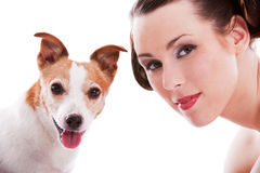 Owner and dog. Pretty woman with her jack russel terrier on white background Stock Photo