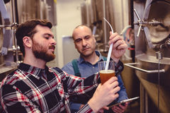 Owner examining beer in glass. At brewery Royalty Free Stock Photos