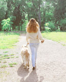 Owner and happy Golden Retriever dog walking in summer Royalty Free Stock Photos