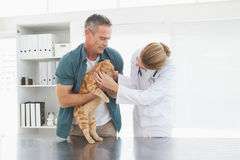 Owner holding his cat as vet examines it Royalty Free Stock Image