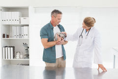 Owner holding rabbit with vet Royalty Free Stock Photo