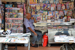 Owner of Indian magazines store in Little India, Singapore Royalty Free Stock Photo