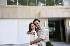 Owner of a new apartment: Couple holding keys Stock Photo