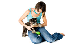 Owner playing with puppy. Pretty owner playing with her puppy royalty free stock photo