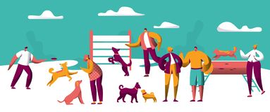 Owner Training Command Different Breed Funny Dog. Collection of Happy Man Woman Pet Play Torether. Friendship vector illustration