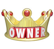 Owner Word 3d Gold Crown Home Property Control. Owner word in red 3d letters on a gold crown to illustrate the power and control of propery or home ownership royalty free illustration