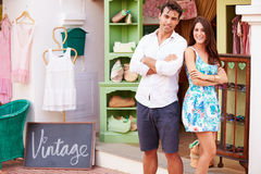 Owners Of Fashion Store Standing Outside Shop Together Royalty Free Stock Image