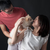 Owners with pet dog Royalty Free Stock Photography