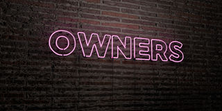 OWNERS -Realistic Neon Sign on Brick Wall background - 3D rendered royalty free stock image Royalty Free Stock Photos
