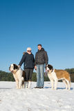 Owners with rescue dog in snow Stock Photos