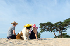 Owners with their dog at the beach Stock Image