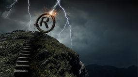 Ownership and author rights. Stone copyright symbol on top of stairway. Mixed media Stock Photography