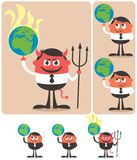 Owning Earth. Conceptual illustration of cartoon character playing with planet Earth. It is in 6 different versions Royalty Free Stock Photography