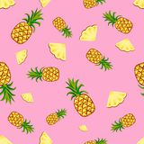 Owoc ananasowi bezszwowi wzory wektorowi ilustracja wektor
