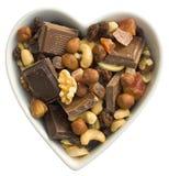 owoc czekoladowy serce ja dokrętki Zdjęcia Stock