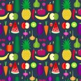 owoc deseniują bezszwowych warzywa Zdrowy stylu życia lub dieta projekta wektorowy element Fotografia Stock