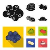 Owoc i inny jedzenie Jedzenie ustalone inkasowe ikony w czarnym, mieszkanie symbolu zapasu ilustraci stylowa wektorowa sieć Zdjęcie Stock