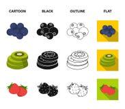 Owoc i inny jedzenie Jedzenie ustalone inkasowe ikony w kreskówce, czerń, kontur, mieszkanie symbolu zapasu stylowa wektorowa ilu Zdjęcia Royalty Free