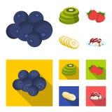 Owoc i inny jedzenie Jedzenie ustalone inkasowe ikony w kreskówce, mieszkanie symbolu zapasu ilustraci stylowa wektorowa sieć Obrazy Royalty Free