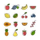 Owoc i jagod ikony Obraz Stock
